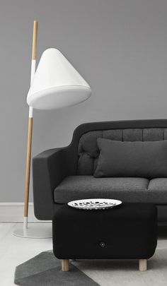 "A quirky and futuristic floor lamp called ""Hello"". Designed by the Swedish designer Jonas Wagell for Danish Normann Copenhagen."