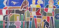 """Edwin Studer """"Constructivo Abuelo"""" Óleo sobre cartón 33 x 67 cms. www.portondesanpedro.com"""
