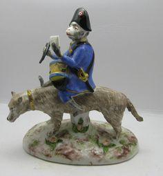 Antique Marked Paris Porcelain Monkey Riding Dog Band Drummer Figurine