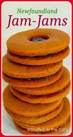 Newfoundland Jam-Jams are soft molasses cookies sandwiched together with your favourite jam. Rock Recipes, Jam Recipes, Sweet Recipes, Baking Recipes, Cookie Recipes, Dessert Recipes, Recipies, Cookie Desserts, Holiday Desserts