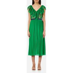 Three Floor Women's Dress Code Dress - Emerald/Nude (17.225 RUB) ❤ liked on Polyvore featuring dresses, multi, three floor dress, emerald green dress, green color dress, green dress and emerald dress