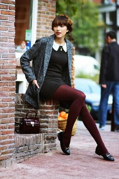 Just love the black dress with maroon tights