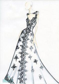 Vestido de noiva: Saia ideal - Croqui por Casa Assuf