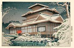 """藤島 武二 (Fujishima Takeji), """"Snow at the Hiunkaku, Nishihonganji Temple, Kyoto"""""""