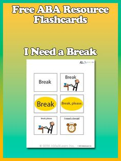 Free Need a Break Flashcards from www.able2learn.com. Great for behaviour management, ABA Therapy, and for kids who are non verbal.#Aba #Resources #Autism #LifeSkills #SpecialNeeds #ABA #ABAResources #AutismEducation #able2learn #NonVerbal #VisualAids #Flashcards #SpecialEducation #BreakCards #Break #Behaviour #BehaviourManagement
