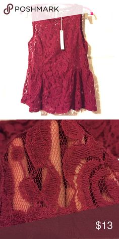 LC Lauren Conrad Red Plum Sheer Lace Peplum Tank Size XS. Stunning and sexy. All over lace. Sheer. Brand new with tags-retail $36. LC Lauren Conrad Tops Tank Tops