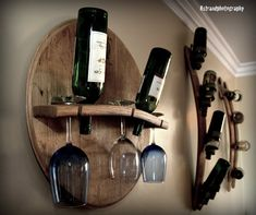 Wine Glass & Bottle Holder by WineyGuys on Etsy