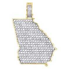14k Yellow Gold Georgia State Map United States Pendant Necklace
