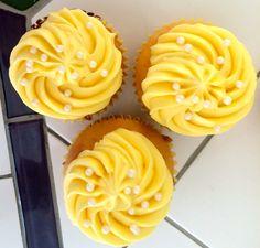 Lemon Cupcakes With Sweet Cream Frosting #recipe