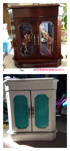 I did this project a year ago and totally forgot to make a post about it.. Found an old jewelry box at Goodwill for about $5 and decided to give it a makeover. I sanded the whole thing down, painted it with spray-on primer, and spot sanded the edges again to give it a distressed look. As a finishing touch I inserted scrapbook paper in front of the windows for a pop of color. I'm pretty proud of how it turned out... It's the perfect size for me to use to store all my jewelry when I'm at…
