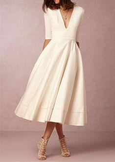 Ivory Vintage Wedding Dress with Half Sleeves