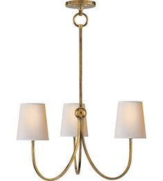Visual Comfort Thomas OBrien Reed 3 Light Chandelier in Hand-Rubbed Antique Brass TOB5009HAB-NP