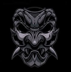 Japanese Mask Anthracite - Jared Mirabile/Sweyda Japanese Tattoo Art, Japanese Tattoo Designs, Japanese Sleeve Tattoos, Samurai Maske Tattoo, Oni Samurai, Japanese Oni Mask, Hannya Maske, Samurai Artwork, Ghost Rider Marvel