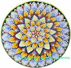 ceramic majolica g06 plate blue yellow green 739 20cm
