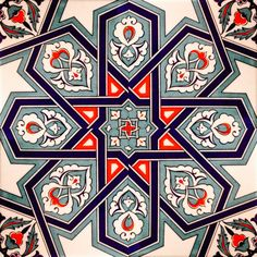White, blue and red. Islamic Motifs, Islamic Tiles, Islamic Art Pattern, Arabic Pattern, Pattern Art, Turkish Tiles, Turkish Art, Arabesque, Turkish Pattern