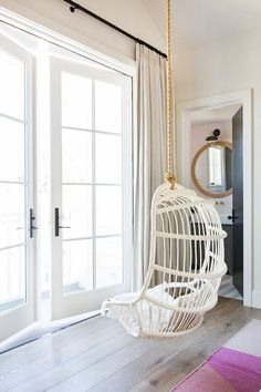 White Hanging Chair for Bedroom. White Hanging Chair for Bedroom. Charming White Viva Design Cora Hanging Chair Design with French Doors Bedroom, French Door Curtains, Diy Curtains, Off White Bedrooms, Blue Painted Walls, Off White Walls, Bedroom Chair, Bedroom Apartment, Beach House Decor