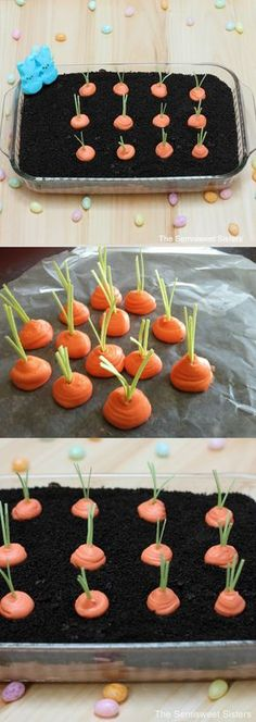 Oreo Easter Dirt Cake with frosting carrots! How cute is this for Easter? Oreo Easter Dirt Cake with frosting carrots! How cute is this for Easter? Holiday Desserts, Holiday Treats, Holiday Recipes, Holiday Foods, Recipes Dinner, Desserts For Easter, Hoppy Easter, Easter Eggs, Easter Food