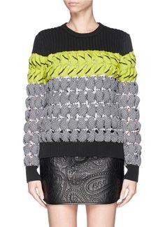 ALEXANDER WANG - Colourblock open knit sweater | Multi-colour Sweater Knitwear | Womenswear | Lane Crawford