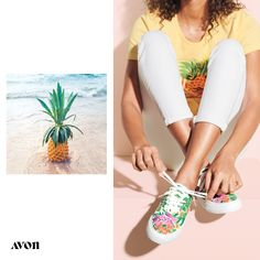 Our new collection takes you to a Hawaiian paradise of tropical prints, breezy silhouettes and pineapple playfulness. Our vibrant canvas sneakers add sunshine to your every step. Avon Fashion, Summer Sneakers, Most Comfortable Shoes, Canvas Sneakers, Shoes Sneakers, Avon Representative, Medium, Color Pop, Tie Dye