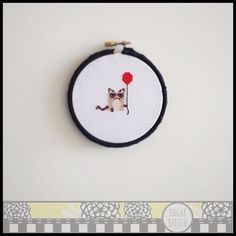 Grumpy Cat with Balloon Cross Stitch Pattern by SugarStitchbyEllie