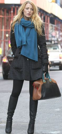 blake lively, black stockings, black coat, blue scarf, casual, winter, black boots, hair, makeup