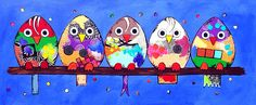 Uit serie 'birds', Acryl op doek, afmeting 50x120.