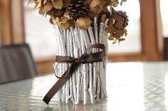 diy silver twig vase Twig Crafts, Decor Crafts, Home Crafts, Fun Crafts, Holiday Crafts, Christmas Crafts, Christmas Decorations, Flower Decorations, Holiday Ideas