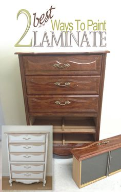 Salvaged Inspirations | The 2 Best Ways to Paint Laminate Furniture. Laminate can paint up gorgeous and its easy to do so don't pass up on those shapely pieces!