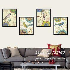 Vintage Flowers And Birds Art Canvas Prints