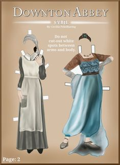 Free Downton Abbey Sibil Crawly paper doll dresses.