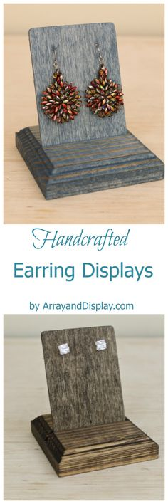 Handcrafted jewelry displays made of locally sourced new and reclaimed wood. Handcrafted in the USA by ArrayandDisplay.com. Earrings displays, earring stands, booth displays, jewelry stands, boutique displays, retail displays, craft market displays.