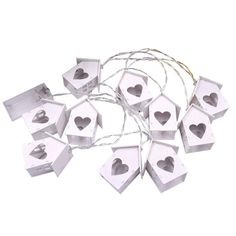 LED String Lights Decorative Fairy Lights With Hollow Heart-Shaped Wooden House For Christmas Party Holiday Event Home Cute Small Houses, Hollow Heart, Wood Sizes, Wooden House, Led String Lights, House Prices, Holidays And Events, Fairy Lights, Heart Shapes