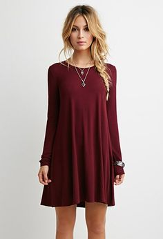 French Terry Trapeze Dress | Forever 21 • fall dresses. long sleeve dresses.