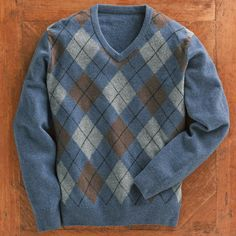 Scottish Lamb's-wool Argyle Sweater