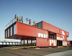 11,000 sq ft portable building using packing crates  Puma City - www.modestcompany.com