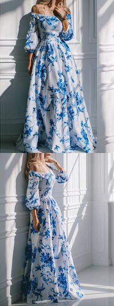 Multicolor Off Shoulder Bird And Floral Print Maxi Empire Dress-CHOIES