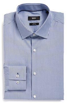 BOSS 'Joey' Slim Fit Easy Iron Stripe Dress Shirt