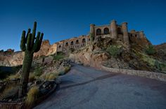 This abandoned, medieval castle, which sits in the hills above Phoenix, was constructed by Dr. Mort Copenhaver as a private residence during the 1970s.