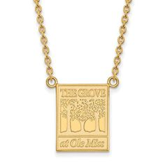 Sterling Silver w/GP LogoArt U of Mississippi Large Pendant w/Necklace
