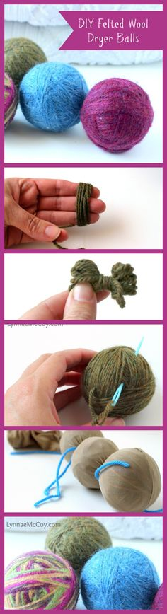 These DIY Felted Wool Dryer Balls are easy to make and save .- These DIY Felted Wool Dryer Balls are easy to make and save time and money in the laundry room! They kind of make laundry fun, too. Wet Felting, Needle Felting, Wool Felt, Felted Wool, Wool Dryer Balls, Tips & Tricks, Cleaners Homemade, Felt Ball, Natural Cleaning Products