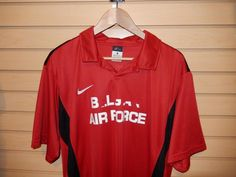 Rare Nike Belgian Air Force Polo Shirt XL Dri Fit Red Made in Egypt Soccer #Nike #ShirtsTops