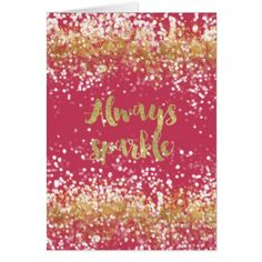 Pink White Gold Confetti Sparkle Card - chic design idea diy elegant beautiful stylish modern exclusive trendy