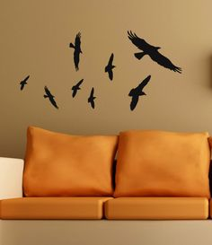 Halloween Decor Black Bird decals flying flock by HouseHoldWords, $12.00