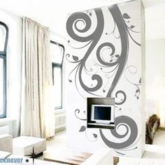 Amazing Flying Flowers 42inch H----Art  bedroom Vinyl wall decals stickers home decor. $35.95, via Etsy.  Bathroom Downstairs