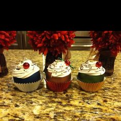 Cupcake ornaments. I used caulk and a decorating tip for the frosting!
