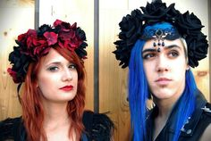 Burgundy and Black Rose and Flower Crown Dark Red by NebulaXcrafts, $71.50