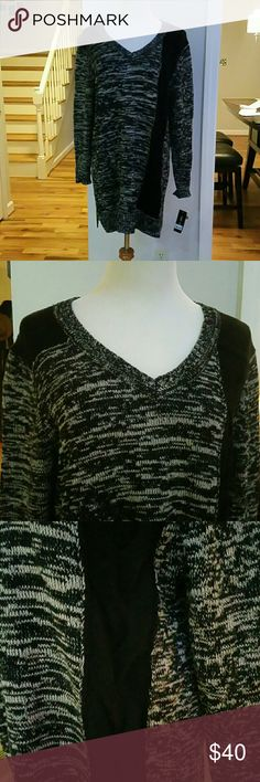 NWT STYLE&CO. SWEATER TUNIC NWT Style&co. Marled-Cable-Knit Sweater Tunic  Color : Deep Black  Size : XLARGE  Materials : 60% COTTON  40% ACRYLIC Style & Co Sweaters