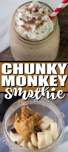 This thick and creamy Chunky Monkey Smoothie makes the perfect quick breakfast or after school snack. Only 4 ingredients blended together - almond milk, peanut butter, chocolate chips and bananas for this gluten free, healthy snack! Almond Milk Smoothie Recipes, Easy Smoothie Recipes, Yummy Smoothies, Almond Recipes, Smoothies With Almond Butter, Healthy Peanut Butter Smoothie, Healthy Breakfast Smoothie Recipes, Healthy Breakfast Shakes, Quick Healthy Breakfast