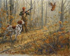 An Open Shot - Brittany, Hunter and Woodcock Oil Painting Duck Hunting Dogs, Hunting Art, Grouse Hunting, Brittany Spaniel, Springer Spaniel, Dog Paintings, Wildlife Art, Wild Birds, Decoupage