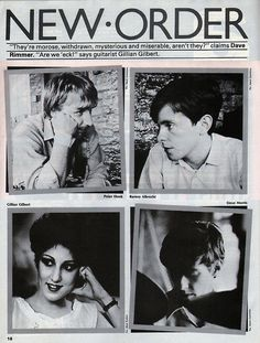 """""""zombiesenelghetto:  New Order, from an article on Smash Hits 1982  """""""